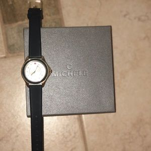 Michele Jelly Watch in Navy and Gold